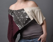 Deep Purple and Gold Beige, One of A Kind Elegant Poncho