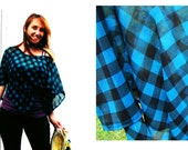Women's Funky Poncho ,Bright Blue and Black, Checkered Summer Cape