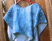 Hooded Fleece Poncho, Cape, Soft, Light Blue Floral
