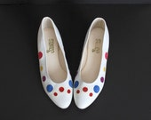 Size 9 Vintage 80s White Leather Polka Dot Wedge Flats 40