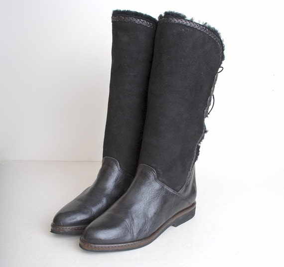 size 9 black leather shearling lined boots 40