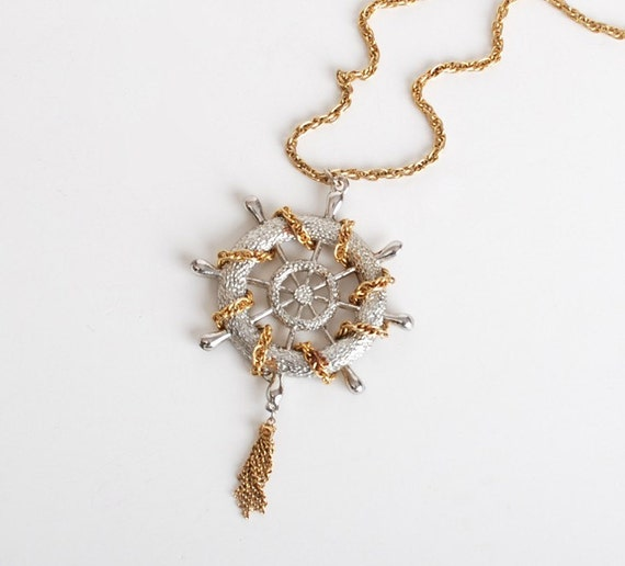 Vintage 60s 70s Gold Silver Metal Nautical Wheel Necklace