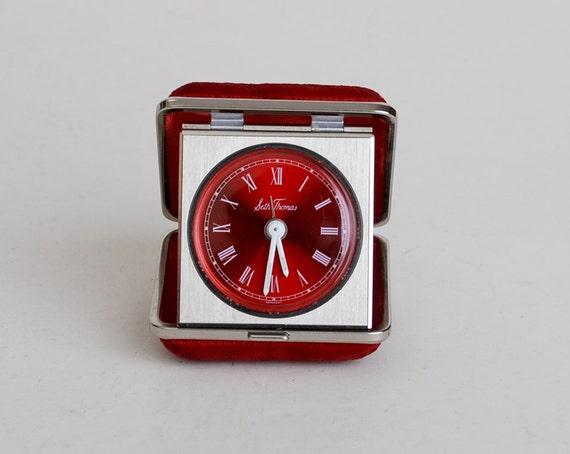 Vintage 60s 70s Seth Thomas Red Chrome Travel Alarm Clock