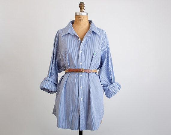 Vintage 80s 90s Navy Blue & White Stripe Ralph Lauren Shirt