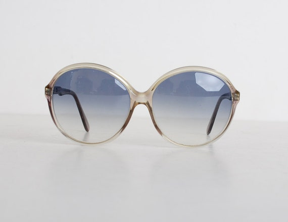 Vintage 70s 80s Round Blue & Gray Sunglasses Shades