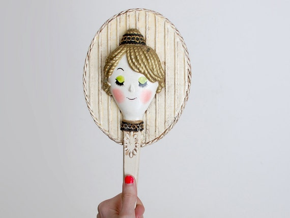 Vintage 60s MOD Dolly Face Hand Mirror
