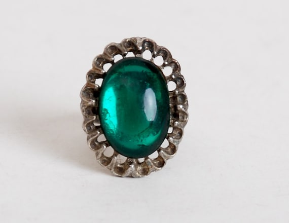 Vintage 60s 70s Silver & Green Cabochon Stone Ring