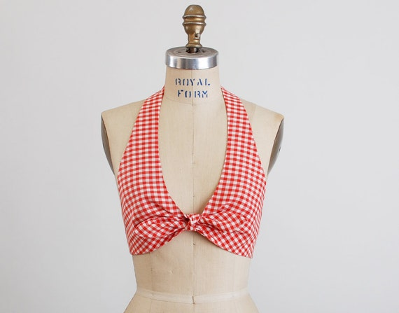 Vintage 70s Red & White Gingham Halter Bikini Top