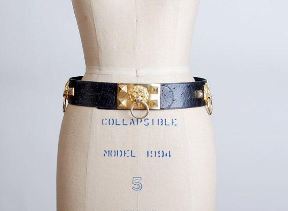 Vintage 80s 90s Black Leather Lion Door Knocker Belt