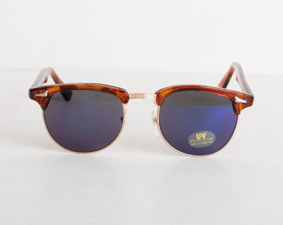 Vintage 90s Clubmaster Tortoise Mirrored Sunglasses Shades