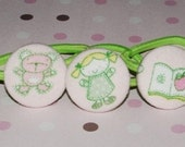Girls Best Friends - Set of 3 Custom Button on Ouchless Metal Free Ponytail holder for Girls