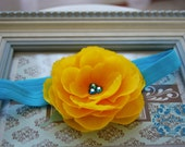 NEW ITEM...Beautiful Yellow Rosette with Large Blue Swarovski Crystals center on Soft, stretchy Blue Teal Headband. All Sizes avail.