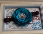 NEW ITEM..Beautiful Teal Rosette with Hand-Beaded Pearls and Rhinestone Center on Soft, Stretchy Choco Brown Headband. All Size Avail.