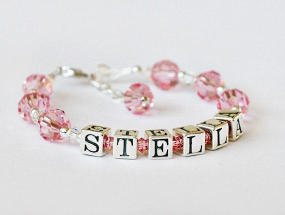Custon order for Liz - personalized baby bracelet - Personalized sterling silver and swarovski crystal name bracelet - baby, toddler, girl