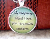 Glass Pendant,  1 inch around, heavy Silver Plated Bezel Imaginary Friend  FAST SHIPPING