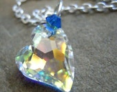 Devoted to You Heart Swarovski Crystal AB Finish with Small Blue Swarovski Accent  FAST SHIPPING