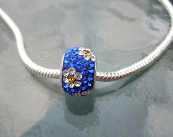 SALE - Sterling silver Swarovski Core Bead Pendant, Blue, Gold, Flower, Sparkling
