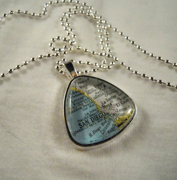 San Diego Vintage Map Glass Dome Pendant in a Triangular Shape - Any City you like