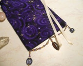 Purple Passion with Gold Stars Tarot Bag / Pouch - free U.S. shipping