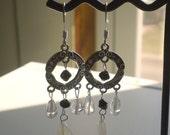 Chandelier Earrings Swarovski Crystal Black White Pink