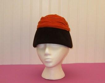 MOD Vintage brown and rust orange hat