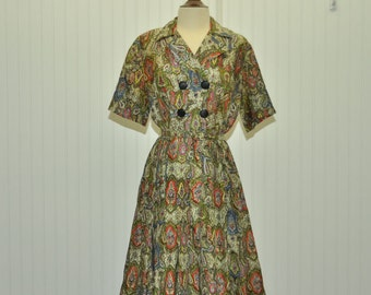Vintage 1950 Dress Silky Paisley Print Fabric