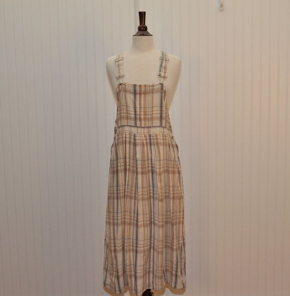 Vintage 1980 Casey & Max Overall Plaid Cotton Jumper Dress