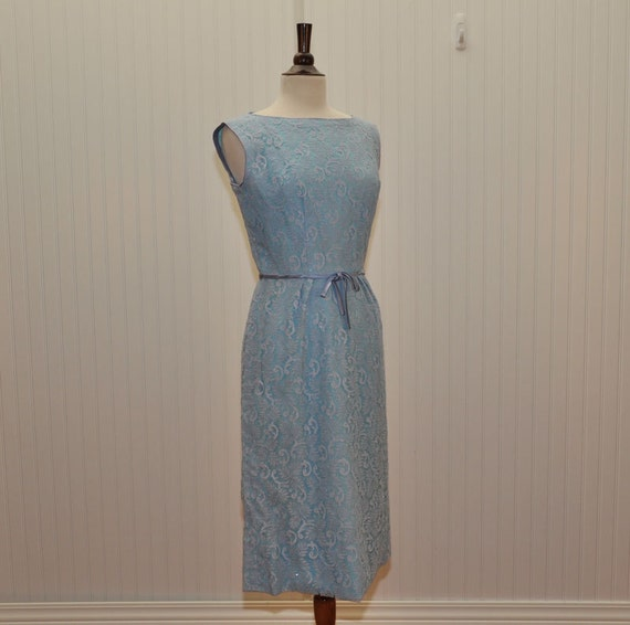 Vintage 1960 Robin Egg Blue Dress With Silver Lavender Blue Lace Shell Mad Men Style Dress