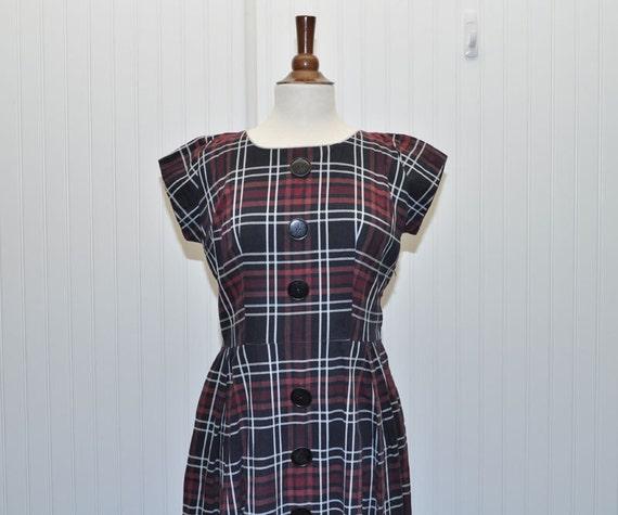 Vintage 1940 1950 Dress Cotton Plaid Dress