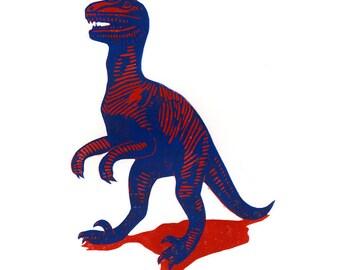 Deinonychus! - Dinosaur linocut print red and blue