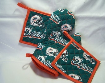NFL  Miami Dolphins  TailGate Set, Oven Mitt an Pot Holders