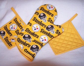 NFL Pittsburgh Steelers Pot Holder, Oven Mitt  , Tailgate Set