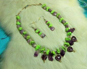 Lavenderite and Lime Turquoise Necklace  07-38