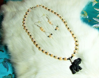"""Necklace  Fresh Water Pearl and Black Onyx  """"Romancing the Elephant""""  08-14"""