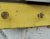 Reclaimed rustic wood towel rack with glass knobs