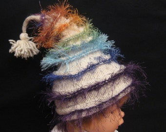 Funky handmade knit Rainbow Stacked Baby beanie hat with tassel