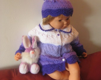 Handmade Knit Baby Cardigan Sweater and Hat set sz 6 - 12mo
