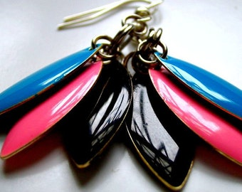 """Candy """"Everyday Lrg."""" Earrings - Black, Pink and Sky Blue"""