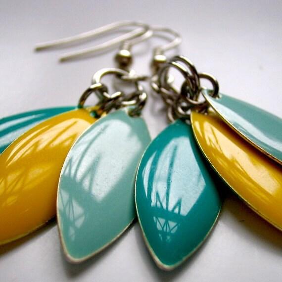 "Candy ""Everyday Lrg."" Earrings - Aquamarine, Yellow & Turquoise"