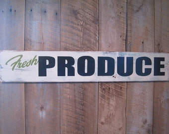 Fresh Produce - Wooden Sign