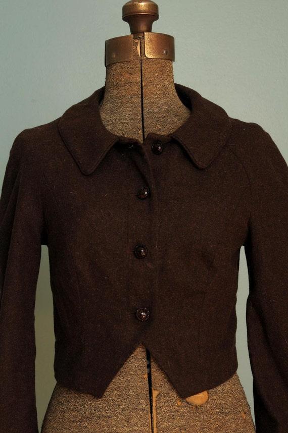 Vintage 1950s Style Brown Bolero Crop Jacket by ...