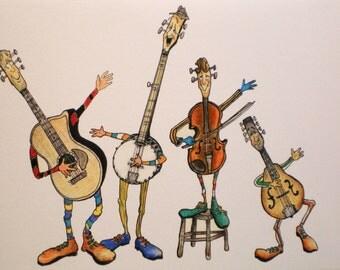 Art Greeting Card Music Bluegrass Band Musician Guitar Picture Drawing Cartoon