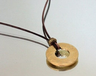 Hammered Brass Leather Necklace