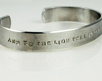 Twilight Quote Cuff Bracelet - Silver Aluminum