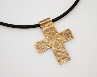 Mens Necklace - Handcrafted Brass Cross on Black Leather