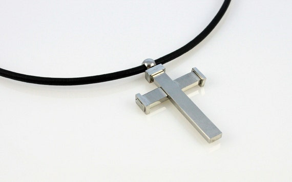 Mens Necklace - Stainless Steel Overlapping 2in1 Cross