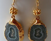 Green and Gold Geode Earrings - A Slice of Nature