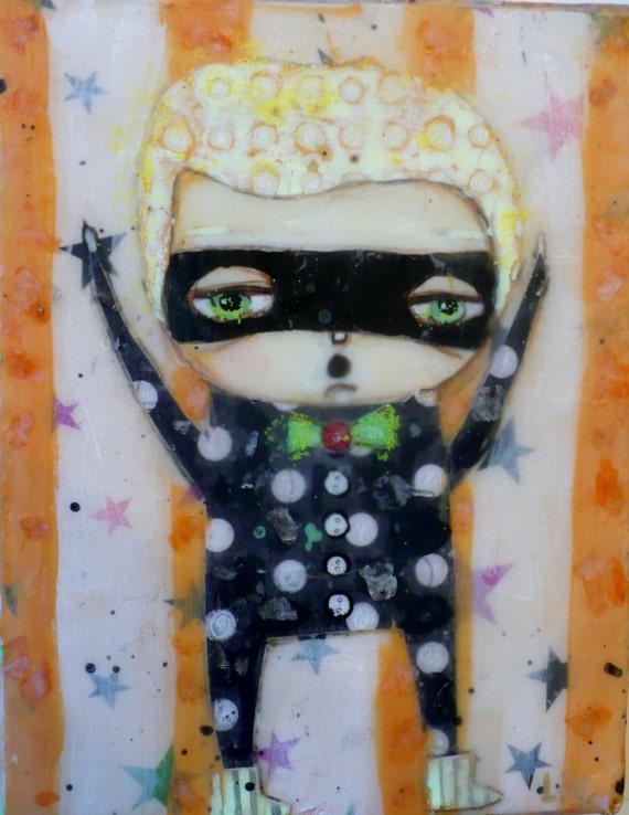 Masked Treats Halloween Beeswaxed Painting FOLK ART
