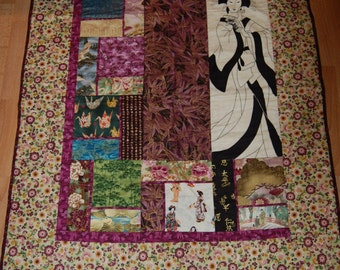 Geisha Purple ans Gold Asian Fabric Wall Hanging Quilt