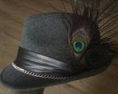 FLY Alice In Wonderland Tea Party Hat / Grey Fedora With Pink Chain and Peacock Feathers